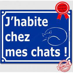 """Plaque ou sticker portail bleu humour """"J'habite chez mes chats !"""", 16 cm pancarte pluriel attention aux chats drôle panneau"""