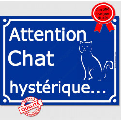 "Plaque ou sticker portail bleu ""Attention au Chat hystérique"" 16 cm"