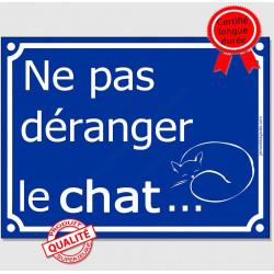 """Plaque ou sticker portail bleu humour """"Ne pas déranger le Chat"""" 16 cm, drôle attention"""