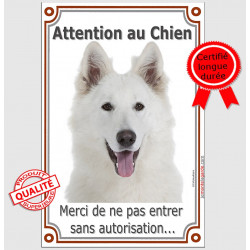 "Berger Blanc Tête, plaque verticale ""Attention au Chien"" 24 cm LUX"