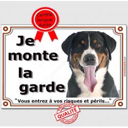 """Bouvier Suisse Tête, Plaque portail """"Je Monte la Garde, risques périls"""" panneau affiche pancarte photo"""
