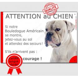 """Bouledogue Américain, plaque """"Jetez Vous au Sol, Attention au Chien"""" 24 cm"""