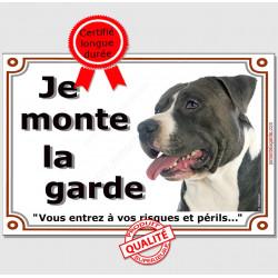 """Am-Staff Tête, plaque """"Je Monte la Garde"""" 3 tailles LUX B"""