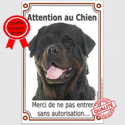"Rottweiler Tête, plaque "" Attention au Chien"" VLUX 24 cm"