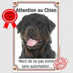 Plaque portail verticale Attention au Chien, Rottweiler Tête, interdit sans autorisation panneau pancarte