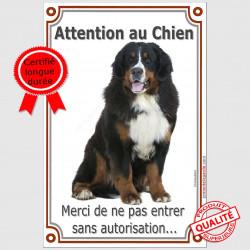 Bouvier Bernois, Panneau de Portail Vertical Luxe, Attention au chien, pancarte, affiche interdit sans autorisation