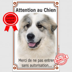 """Montagne des Pyrénées Tête, plaque portail verticale Attention au Chien, interdit sans autorisation"""" pancarte panneau photo"""