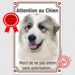 Plaque 24 cm, Attention au Chien, Montagne des Pyrénées Tête, pancarte panneau interdit sans autorisation