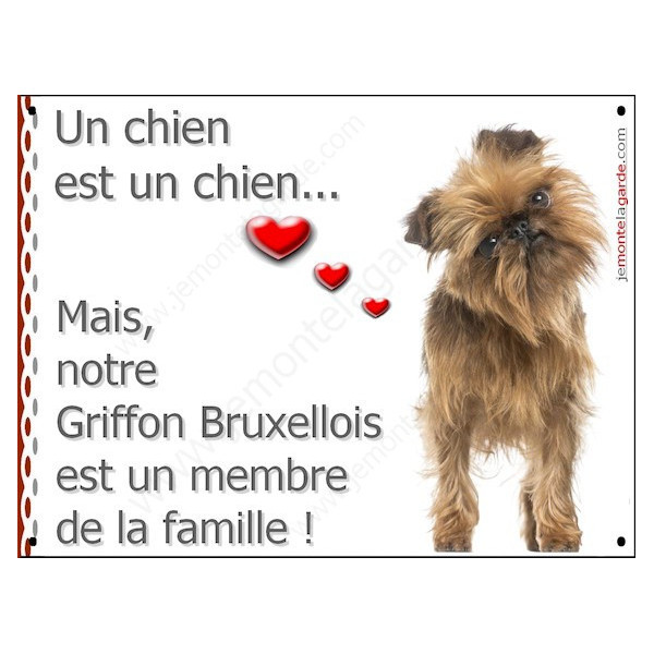 Griffon Bruxellois, Plaque Portail un chien est un chien, membre de la famille, pancarte, affiche panneau