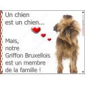 Plaque 16 cm LOVE Membre de la Famille, Griffon Bruxellois