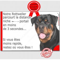 """Rottweiler Tête, plaque """"parcourt distance Niche - Portail"""" 24 cm 3SEC"""