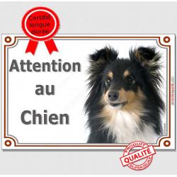 """Berger Shetland tricolore noir et feu, plaque portail """"Attention au Chien"""" pancarte panneau photo Sheltie noir et feu"""