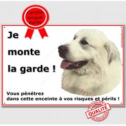"""Montagne des Pyrénées, plaque """"Je Monte la Garde"""" 2 tailles ECO A"""