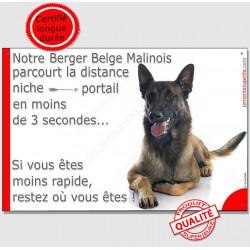 """Malinois couché, plaque """"distance Niche - Portail"""" 24 cm"""