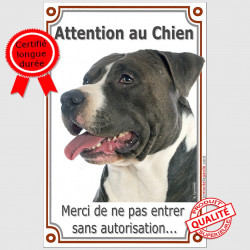"Am-Staff tête, plaque ""Attention au Chien"" 24 cm Vlux A"