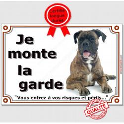 """Boxer Bringé Couché, plaque """"Je Monte la Garde"""" 2 tailles LUX B"""