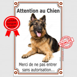 Berger Allemand Poils Longs couché, Plaque Attention au Chien panneau pancarte, interdit sans autorisation