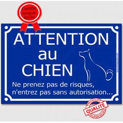 """Plaque Portail """"Attention au Chien, ne prenez pas de risques, n'entrez pas sans autorisation"""" 4 tailles FUN A"""