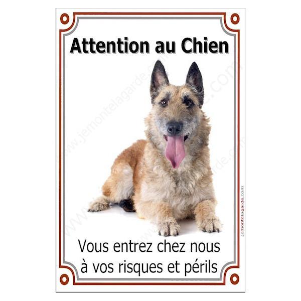 Berger Belge Laekenois, Plaque Portail Attention au Chien verticale, risques périls, pancarte, affiche panneau