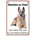 Plaque 24 cm LUXE Attention au Chien, Berger Belge Laekenois
