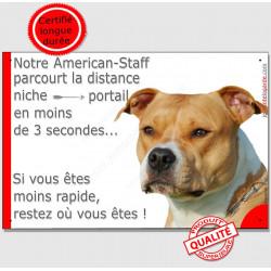 """Am-Staff Fauve tête, plaque humour """"distance Niche - Portail"""" 24 cm 3SEC"""