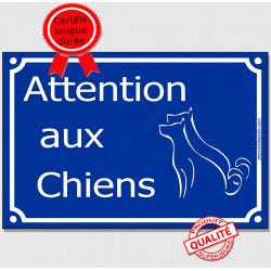 Attention auX ChienS, Plaque bleue portail pluriel panneau affiche pancarte