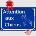 """Plaque Portail bleue """"Attention auX ChienS"""" au pluriel 3 tailles A"""