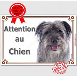 """Labrit gris Tête, plaque """"Attention au Chien"""" portail 2 tailles LUX A"""