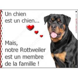 """Rottweiler Buste, plaque """"Membre de la Famille"""" 2 Tailles LOV A"""