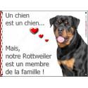 Plaque 2 Tailles LOVE Membre de la Famille, Rottweiler Buste