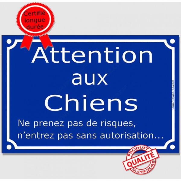 Plaque Portail bleue 4 tailles Attentions aux Chiens pluriel, ne prenez pas de risques, n'entrez pas sans autorisation !