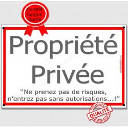 Plaque Portail 3 tailles ECO Propriété Privée Autorisation Liseré Rouge, passage interdit pancarte panneau affiche