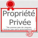 """Plaque Portail """"Propriété Privée Autorisation"""" Liseré Rouge 3 tailles ECO A"""
