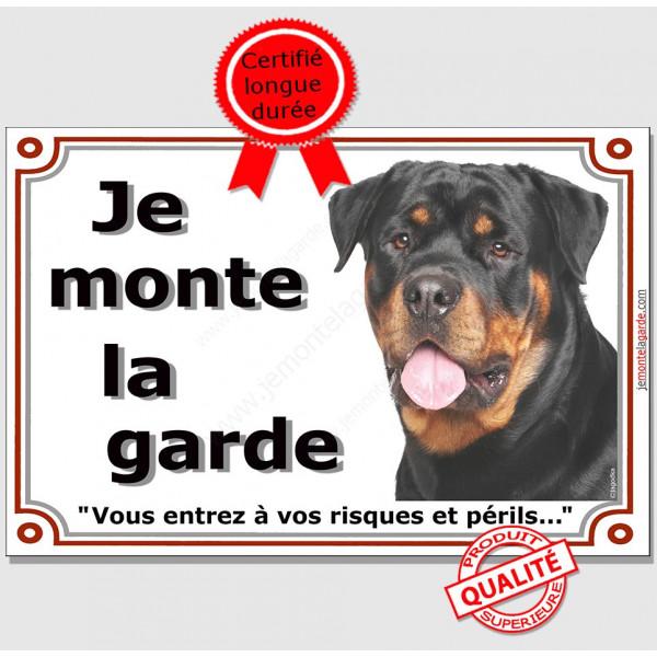 Rottweiler Buste, Plaque portail Je Monte la Garde, panneau affiche pancarte, risques périls attention au chien photo