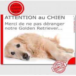 """Plaque portail """"Attention au Chien, Merci de ne pas déranger notre Golden Retriever"""" 24 cm, pancarte panneau feignant dort photo"""