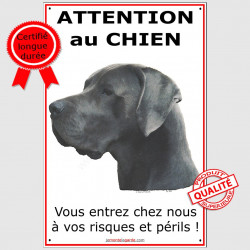 "Danois Bleu, plaque ""Attention au Chien"" 24 cm ECO"