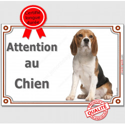 """Beagle Assis, plaque portail """"Attention au Chien"""" 2 Tailles LUX C"""