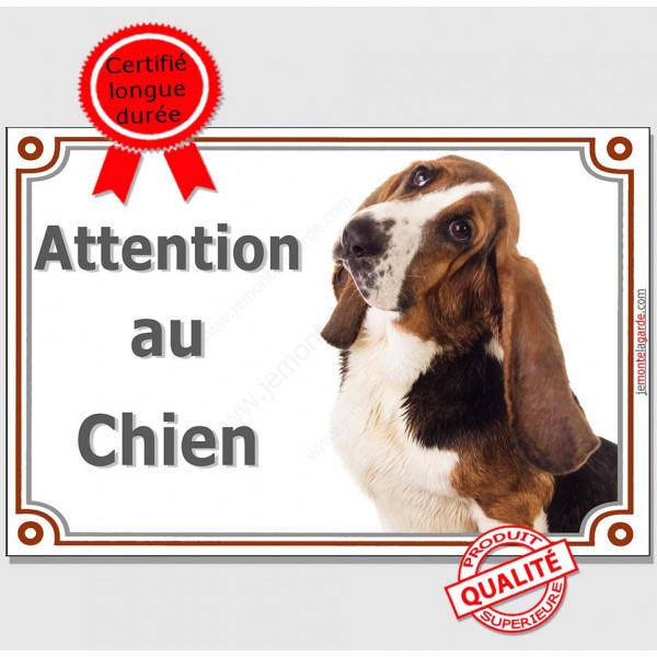 """Basset Hound, Plaque Portail """"Attention au Chien"""", affiche pancarte panneau, hund photo"""