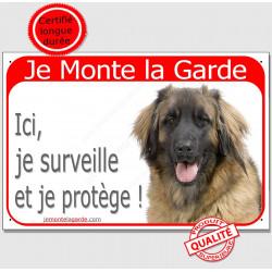 Leonberg tête, Plaque portail rouge Je Monte la Garde, surveille protège, pancarte attention au chien panneau photo