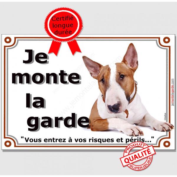 Bull Terrier Fauve, plaque portail je monte la garde, risques périls, panneau pancarte attention au chien photo
