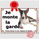 """Bull Terrier couché, plaque """"Je Monte la Garde"""" 2 tailles LUX B"""