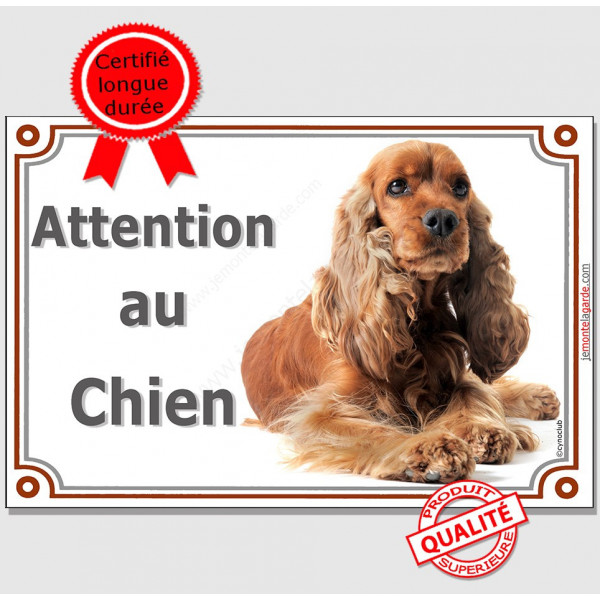 """Cocker Golden, Plaque Luxe Horizontale """"Attention au Chien"""" affiche pancarte panneau, anglais spaniel roux"""