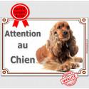 """Cocker Golden, plaque """"Attention au Chien"""" 3 tailles LUX A"""