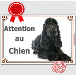 """Cocker Anglais Noir, plaque """"Attention au Chien"""" pour portail, pancarte, affiche panneau photo"""