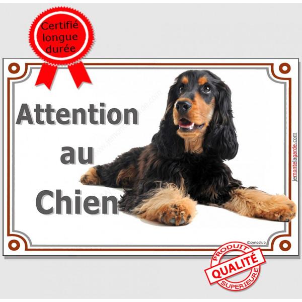 """Cocker Anglais noir et feu, plaque portail """"Attention au Chien"""" panneau pancarte affiche photo"""