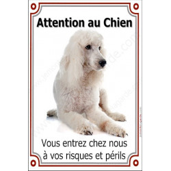 "Caniche Blanc, plaque verticale ""Attention au Chien"" 24 cm"