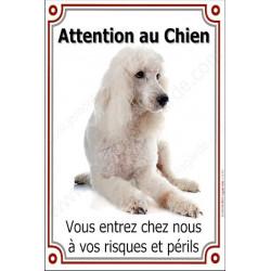 Plaque portail 24 cm Attention au Chien, Caniche Blanc couché