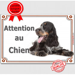 "Cocker Anglais Tricolore, plaque ""Attention au Chien"" 24 cm LUX A"