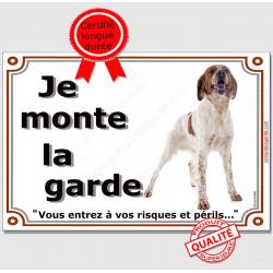 Epagneul Breton Orange, Plaque portail Je Monte la Garde, affiche pancarte panneau espagnol photo