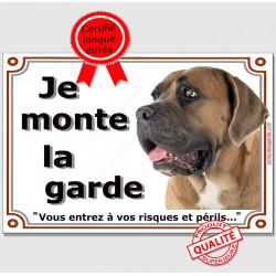 """Plaque portail, photo Cane Corso fauve """"Je Monte la Garde risques périls"""" pancarte Attention au Chien"""